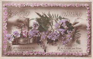 R319905 anniversaire Voeux. fleur bleue et Panier à Fleurs. E. A. SCHWERDTFEGER