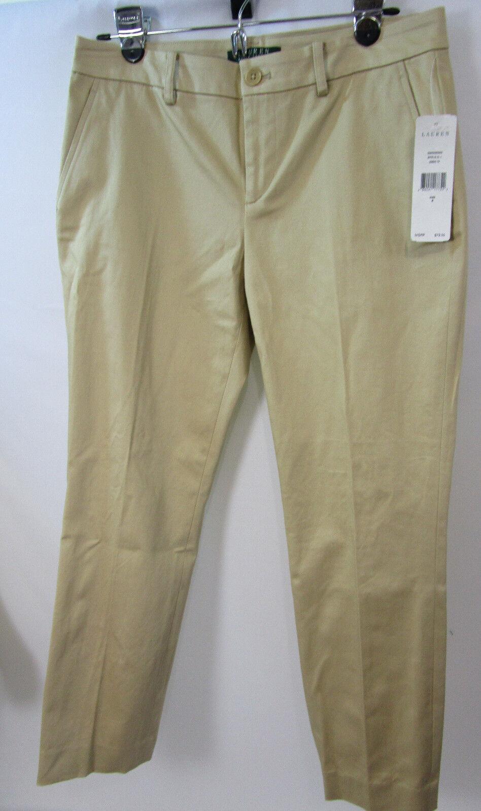 RALPH LAUREN women's KHAKI straight leg CROP pants SIZE 4 new WITH TAG