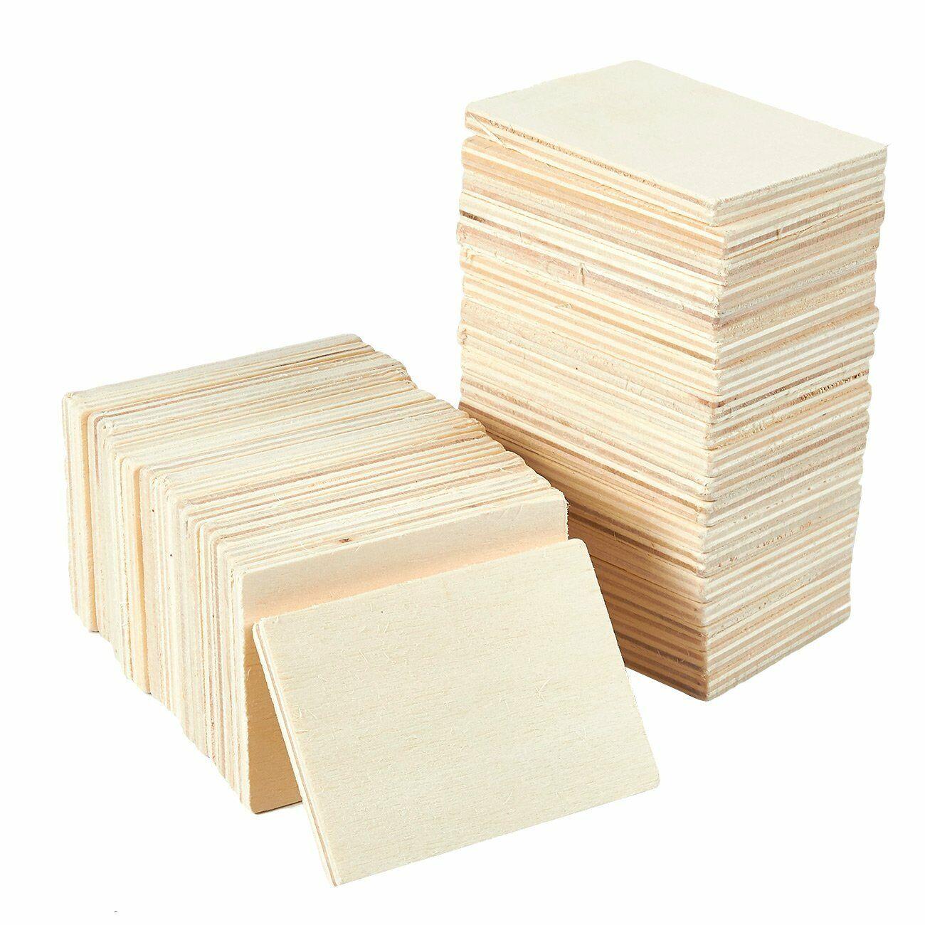 50Pcs Unfinished Wood Pieces Wooden Squares Cutout Tiles DIY Supplies 4x4cm