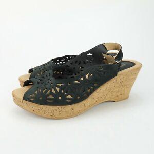 Spring-Step-Women-039-s-Black-Leather-Wedge-Slingback-Laser-Cut-Sandals-Size-40-US-9