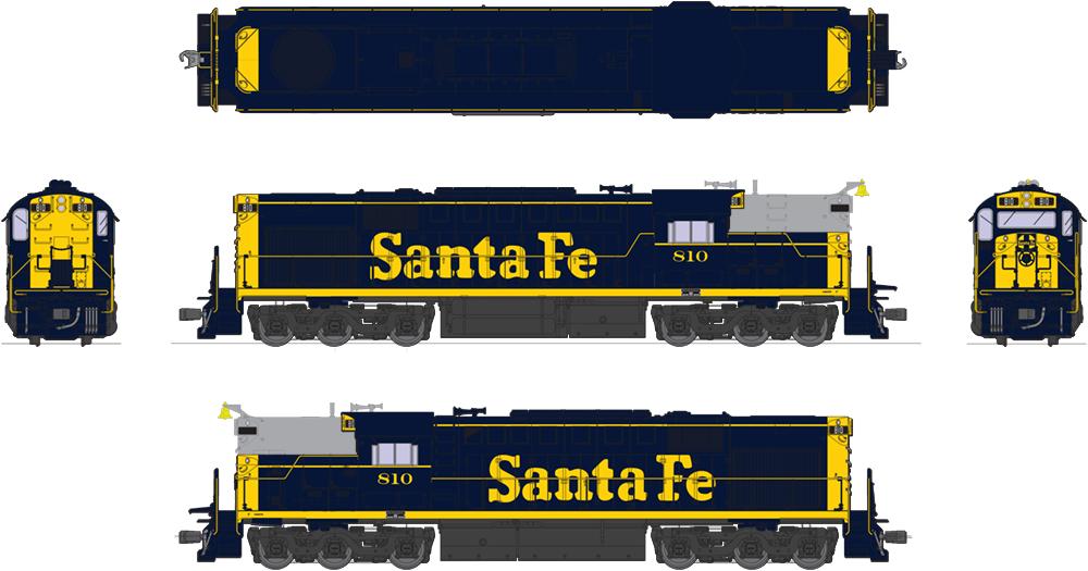 Broadway Limited 4880, HO Alco RSD-15 ATSF  810, blu giallo, Paragon3 Sound DCC