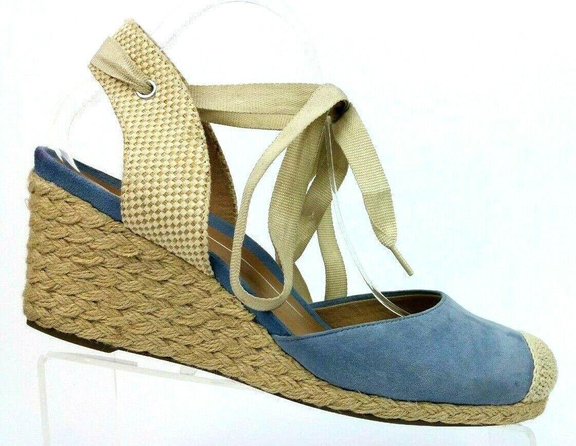 Vionic Aruba Maris azul Suede con cordones Cuña Alpargata Sandalias De Plataforma Mujeres 10