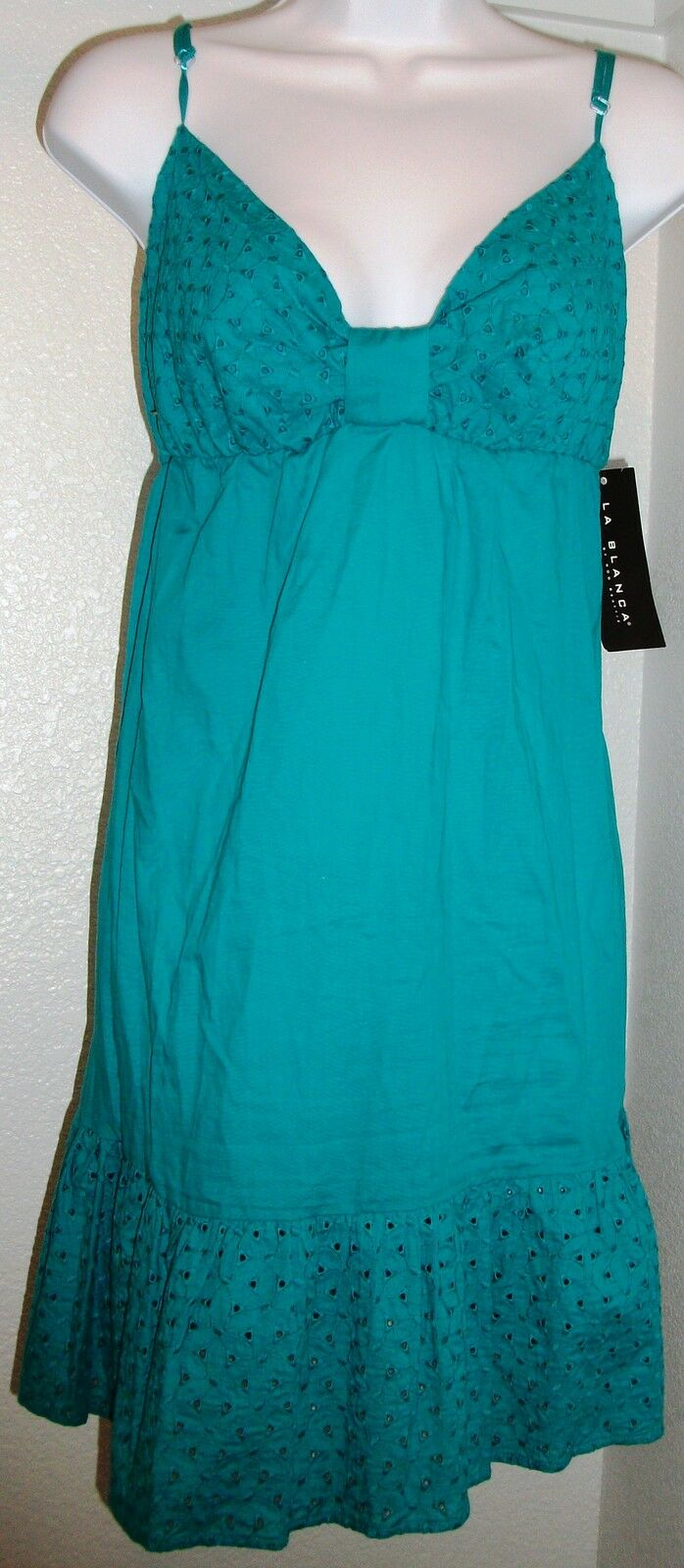 NWT Genuine LA whiteA teal adjustable straps cover up dress, size L
