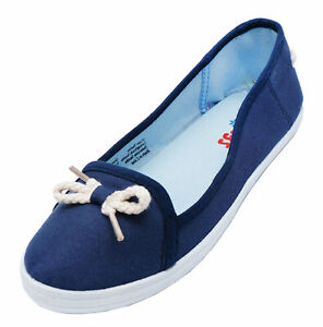 LADIES-NAVY-NAUTICAL-CANVAS-FLAT-SLIP-ON-PLIMSOLL-PUMPS-COMFY-CASUAL-SHOES-3-6