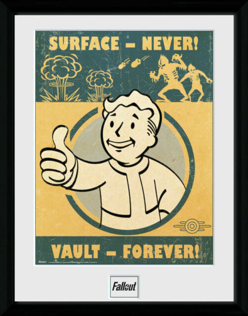 Fallout Game Poster Framed Print Nuka Cola Vault Red Bottle Caps Vr 30x40cm