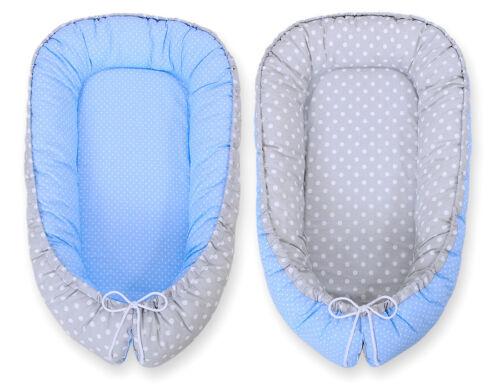 Bobono Baby Nestchen grau//blau Punktemuster 2 Varianten