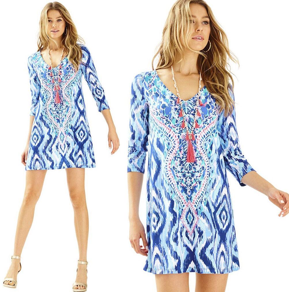 178 Lilly Pulitzer Ophelia bluee Swish Skipped a Beach Engineered Swing Dress