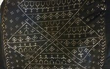20'S VINTAGE EGYPTIAN ASSUIT SCARF BLACK NET MESH EMBROIDERED  METAL FOIL PIECES