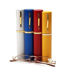 Metal-Frame-Slim-Reading-Glasses-Spring-Hinges-Aluminum-Alloy-Pen-Tube-Case