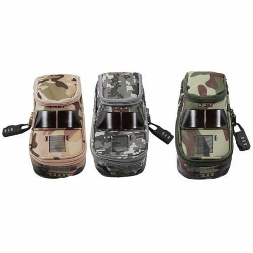 Pen Pouch Bag with Combination Lock for Boys Double Zipper Camouflage Canvas G6O