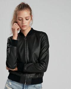 Womens Leather Jacket Black Bomber Pure Lambskin Jacket Size S M L XL XXL TBLC