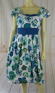 Jillian-Jones-Dress-12-Floral-Cotton-Lined-Pockets-Pleats-Cap-Slv-Back-Zip-Retro