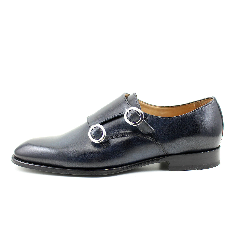 Scarpe casual da uomo  SCARPE UOMO BLU fibbia GIORGIO REA artigianali Italiane scarpe pelle MODA 7938BL