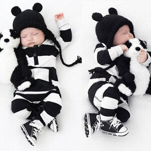 US-Newborn-Baby-Boy-Girls-Striped-Cotton-Romper-Jumpsuit-Bodysuit-Outfit-Clothes