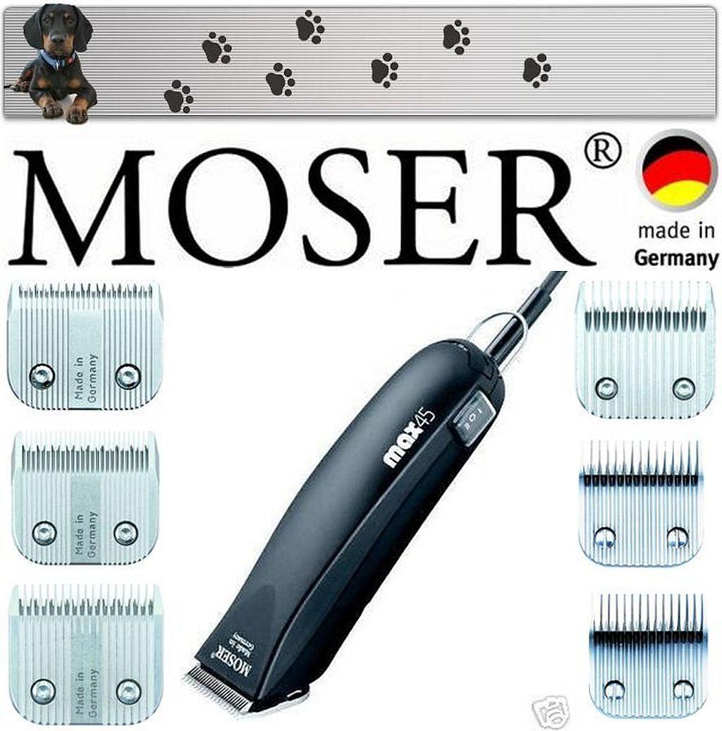 Moser Tosatore per Cani Max 45 6 Scherköpf 1mm, 2mm, 3mm, 5mm, 7mm, 9mm Nuovo