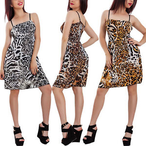 info for d5b83 8a5cd Dettagli su Mini abito donna gonna vestito copricostume leopardato  animalier ALEX-125