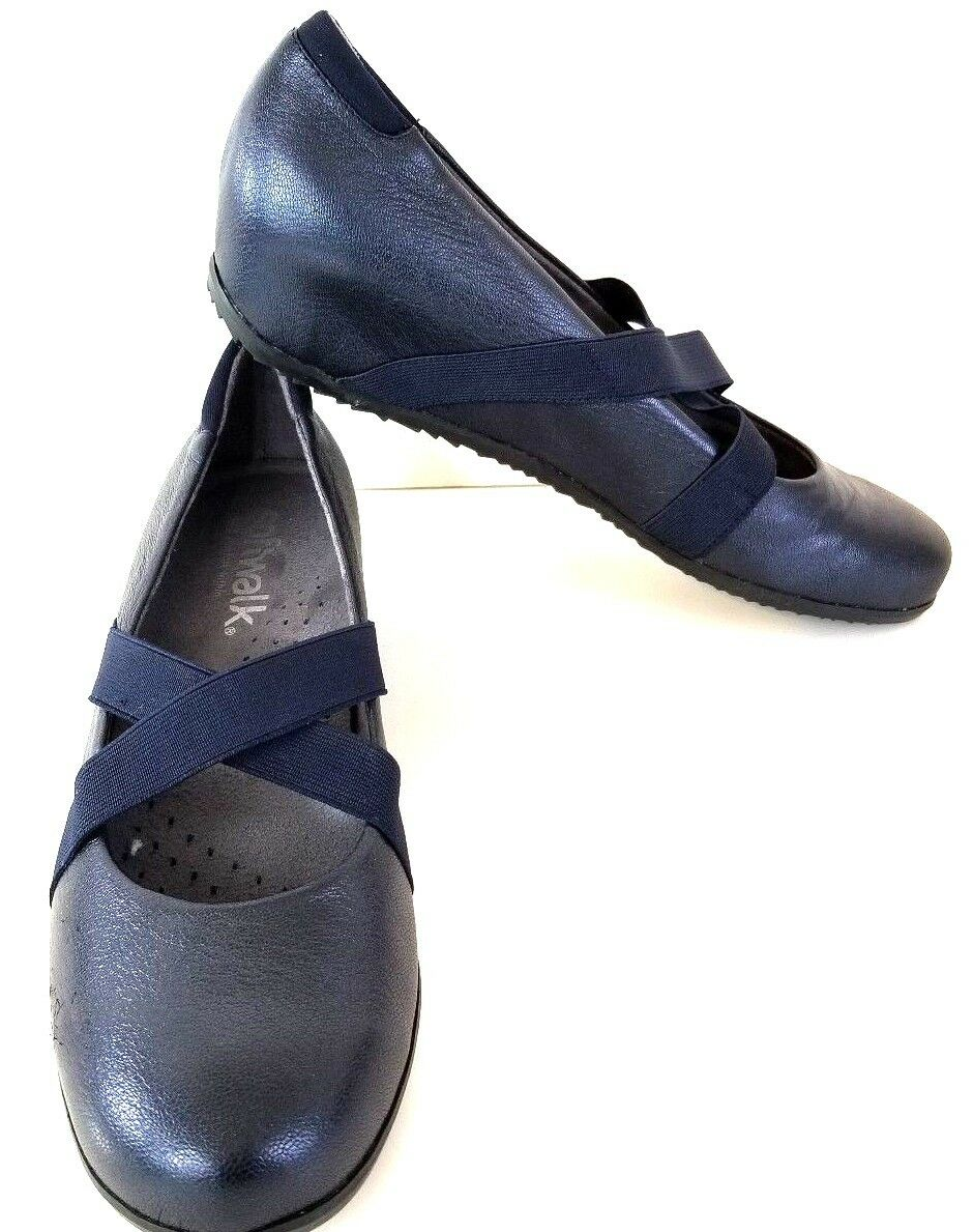 SoftWalk Women's Waverly Mary Jane Flat Dark bluee Metallic 9 Narrow NEW Box Z362