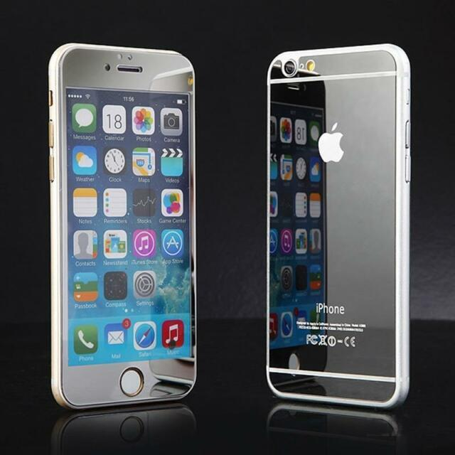 iPhone 6 6s 6+ Full Body Mirror Tempered Glass in Black Gold Blue Silver Purple
