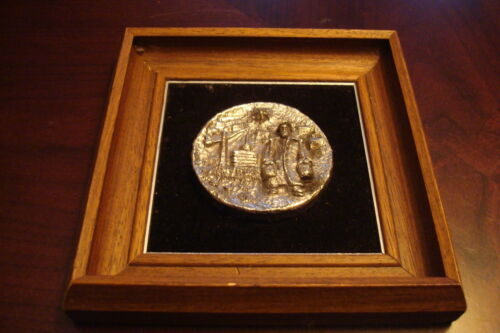 Silver plated framed sculpture made in Israel by Y.A. Sadovski