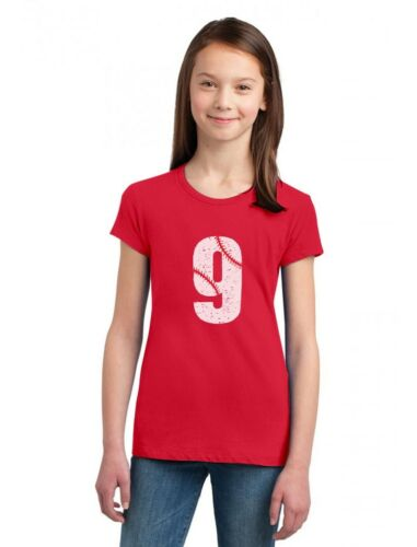 9th Birthday Gift for Nine Year old Baseball Fan Girls/' Fitted Kids T-Shirt 9