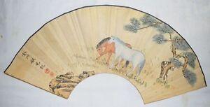 China-Qing-Kangxi-Emperor-Fan-Painting-034-Horse-Fanmous-Painter-Handwriting
