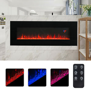 50-034-Wall-Mounted-Electric-Fireplace-Heater-Multicoloured-Flame-w-Remote