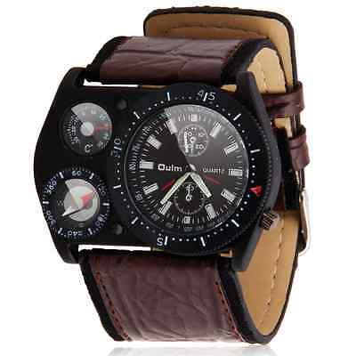 New Fashion Mens Sport Car Military Army Leather Sports Quartz Wrist Watch Brown
