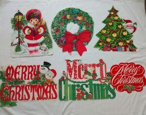 Details About Vintage Christmas Die Cut Paper Decorations Lot Santa Snowman Eureka Hallmark