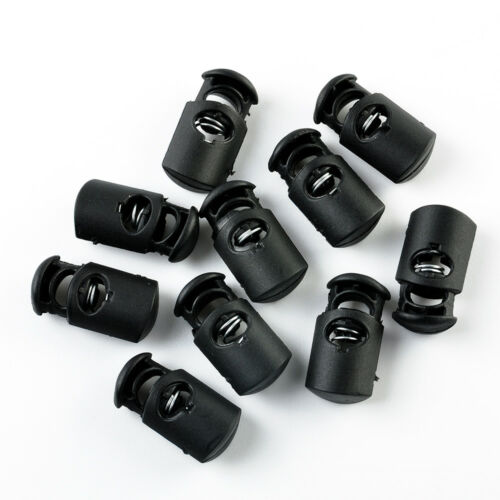10Pcs//set Black Plastic Toggle Spring Clasp Stop Single Hole String Cord Locks