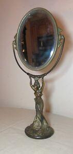antique-orante-figural-bronze-Art-Nouveau-pivoting-vanity-lady-oval-table-mirror