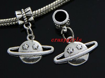 6/30/100pcs Tibetan Silver planet Bulk Lots Dangle Charms DIY Fit Bracelet