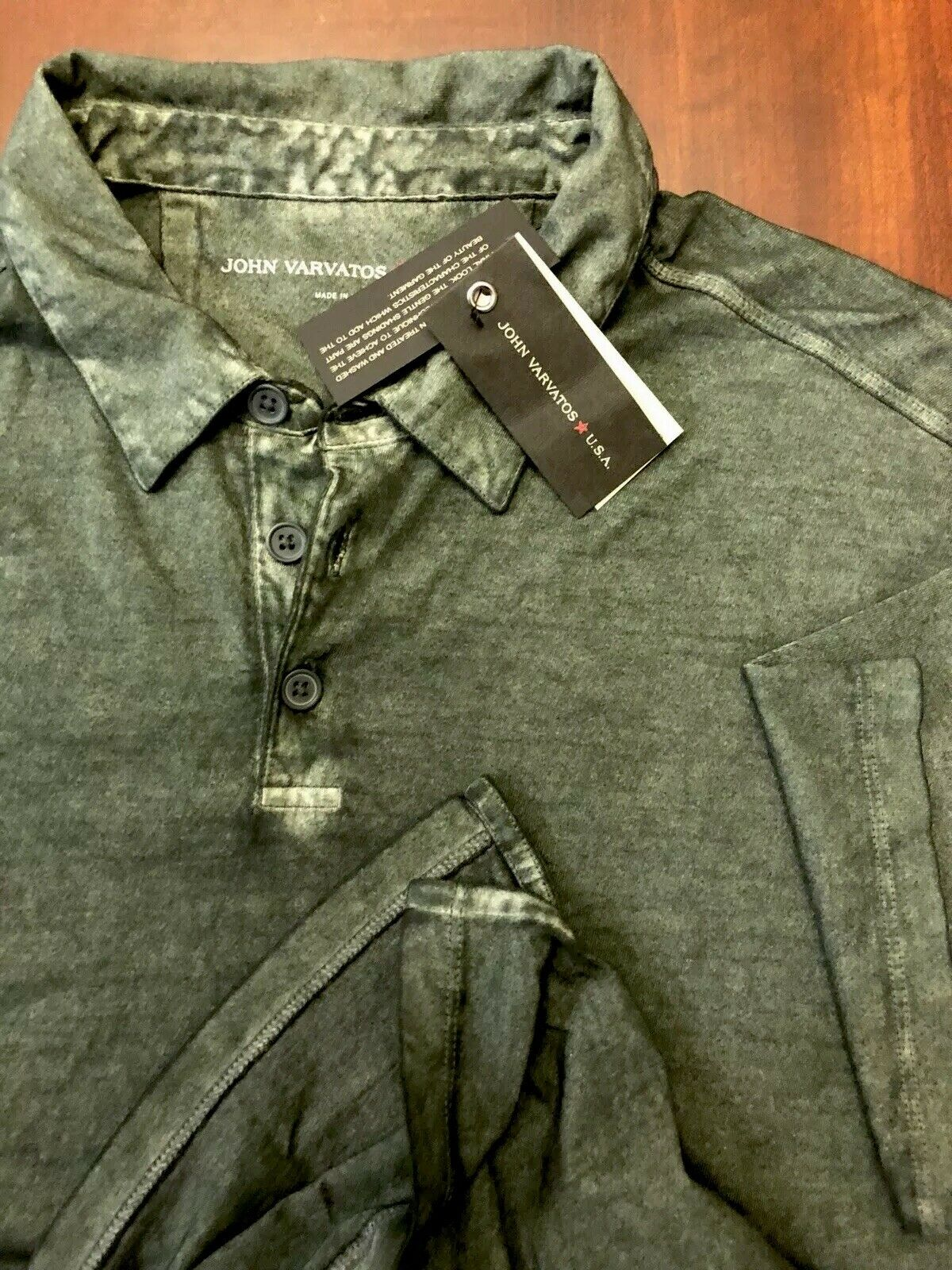 John Varvatos Star USA Faded Die Olive Green Cotton Polo Shirt Size Large