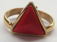 HANDMADE 92.5 BRASS GEMSTONE RING IN RED CORAL TRIANGLE FOR MANGAL GRAH SHANTI