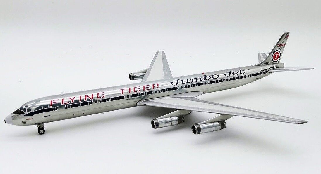 IF863FT01P 1 200 Flying Tigers jumbojet Scheme DC-8-63F N779FT poli avec support