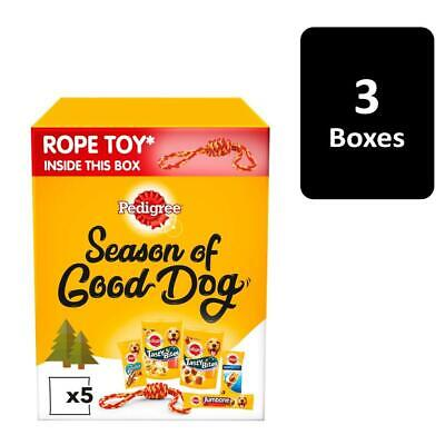 Pedigree Dog Treats Christmas Gift Box with Rope Toy 3 x 532g Xmas Gift Boxes