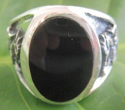 100/% Real 925 Sterling Silver Black Onyx Eagle bird oxidised men guy gents ring