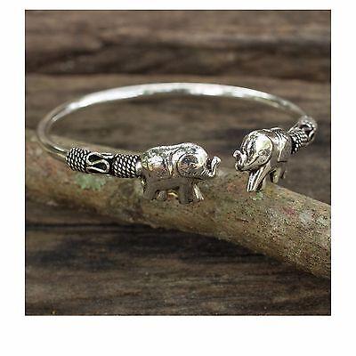 Womens Handcrafted Sterling Silver 925 Proud Elephant Open Cuff Jewelry Bracelet