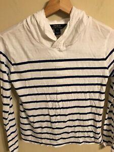 Polo Ralph Lauren Girls White Navy Stripe Long Sl Modal Hoodie Shirt SZ L(12-14)