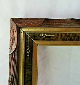 Antique-Fits-8-034-x-10-034-Eastlake-Gold-Gilt-Carved-Picture-Frame-Country-Victorian
