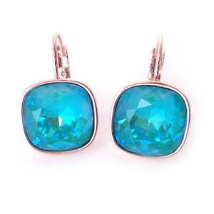 Blue-Laguna-Delite-on-Rosegold-Crystal-Earrings-w-Cushion-Cut-Swarovski-Prom