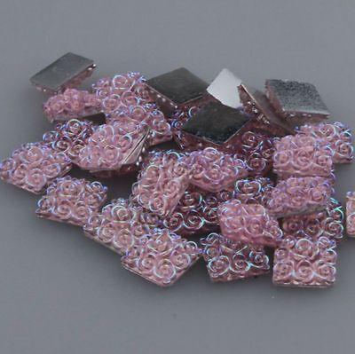 32pcs  AB  Resin Rose Flower Square Flatback Cabochon Craft Embellishment .