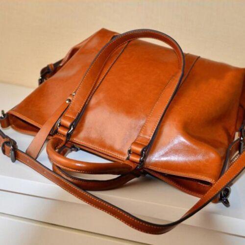 Women Tote Purse Oiled Leather Large Bags Handbag Lady Shoulder Bag