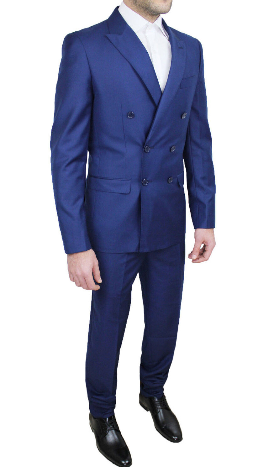 Kleid komplette Mann Hoch Schneiderei blau kommen zweireihig élégant da 46 a 60