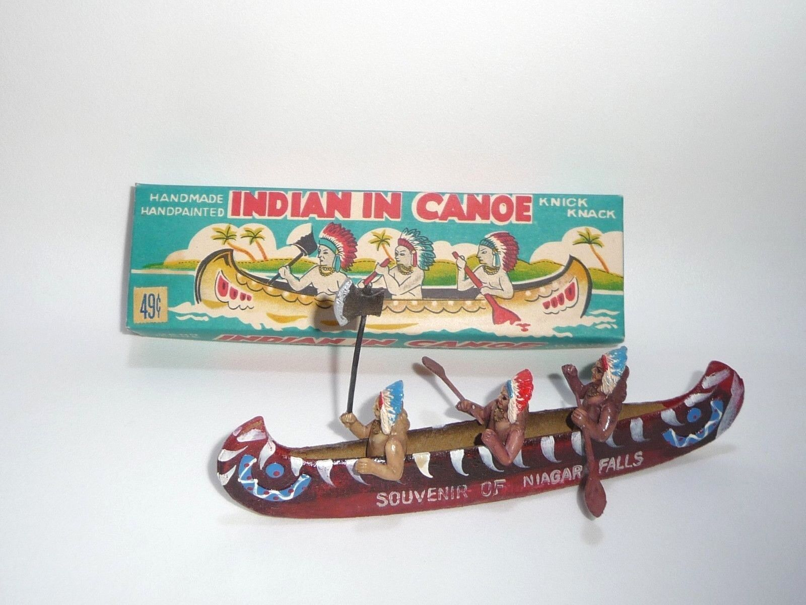 Indian (Native American) in Canoe - Celluloid Japan Toy Complete in Box