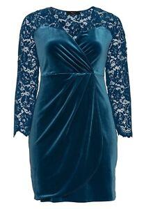 sheego Damen Samt Kleid Dress Langarm Knielang Blau Abend ...