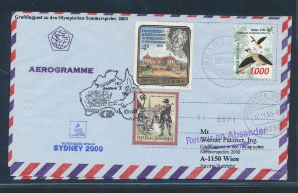 09655) Lauda Olympiades Pour Lp Vienne-sydney 15.9.2000, Aerogramm Indonésie Bird à Distribuer Partout Dans Le Monde