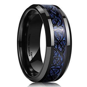 King Will Mens 8mm Blue Carbon Fiber Black Celtic Dragon Tungsten Carbide Ring