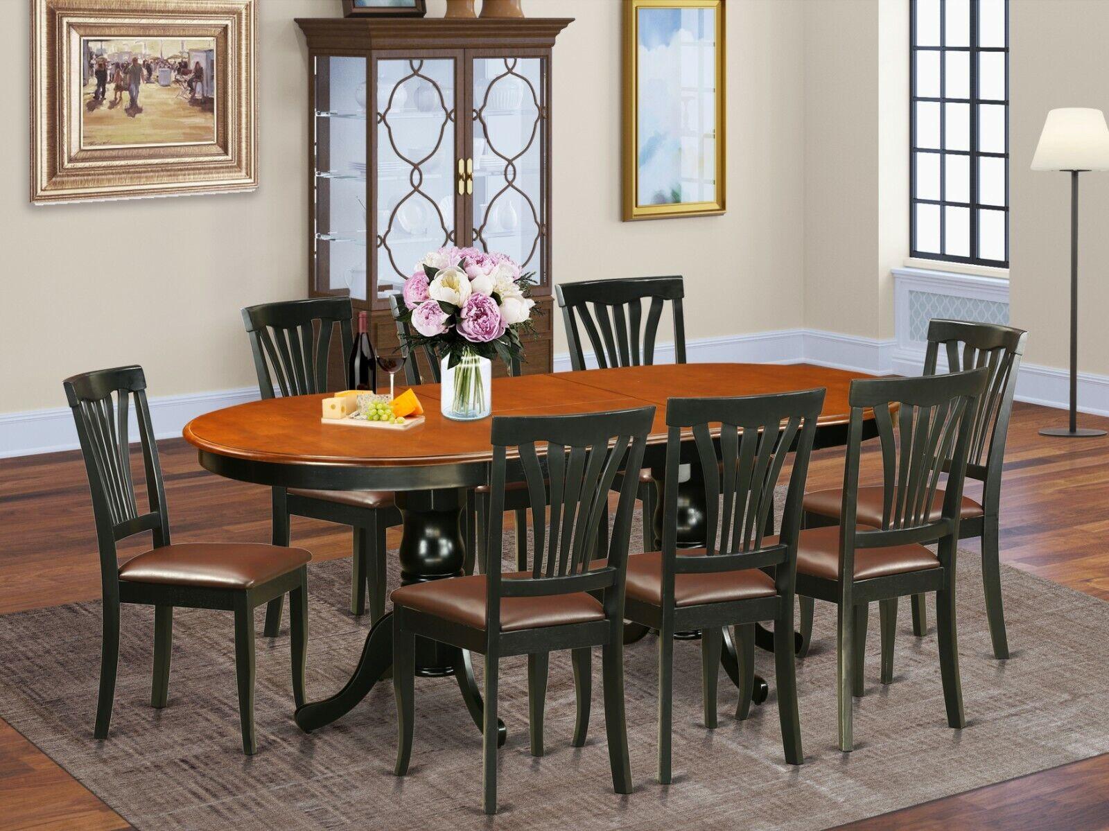Dining Table Set For 8 Farmhouse Room Elegant Fine Windsor Chairs 9pc Black Oak For Sale Online Ebay