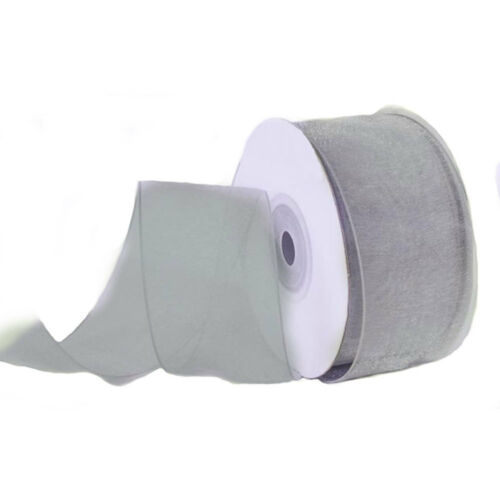 "2-3//4/"" Plain Sheer Organza Nylon Wired Edge Ribbon 25 Yards Silver"