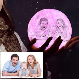 Personalised Custom 3D Print LED Moon Lamp Night Light Printed Photo Pillow Case